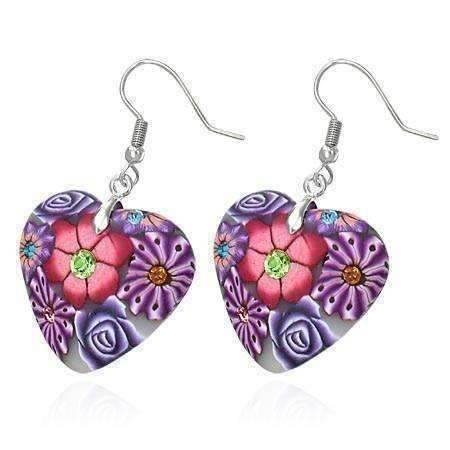 Feshionn IOBI Earrings Purple Heart Handcrafted Floral Cane Work Clay & CZ Earrings ~ Three Lively Colors to Choose From
