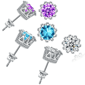 Feshionn IOBI Earrings Purple / Standard Majestic Crown IOBI Crystal Silver Stud Earrings in Three Colors
