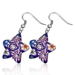 Feshionn IOBI Earrings Purple Star Handcrafted Floral Cane Work Clay & CZ Earrings ~ Two Lively Colors to Choose From