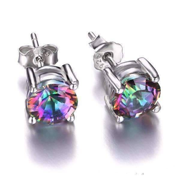Feshionn IOBI Earrings Round Earrings Rainbow Fire Genuine Mystic Topaz Round Cut 2CTW IOBI Precious Gems Stud Earrings