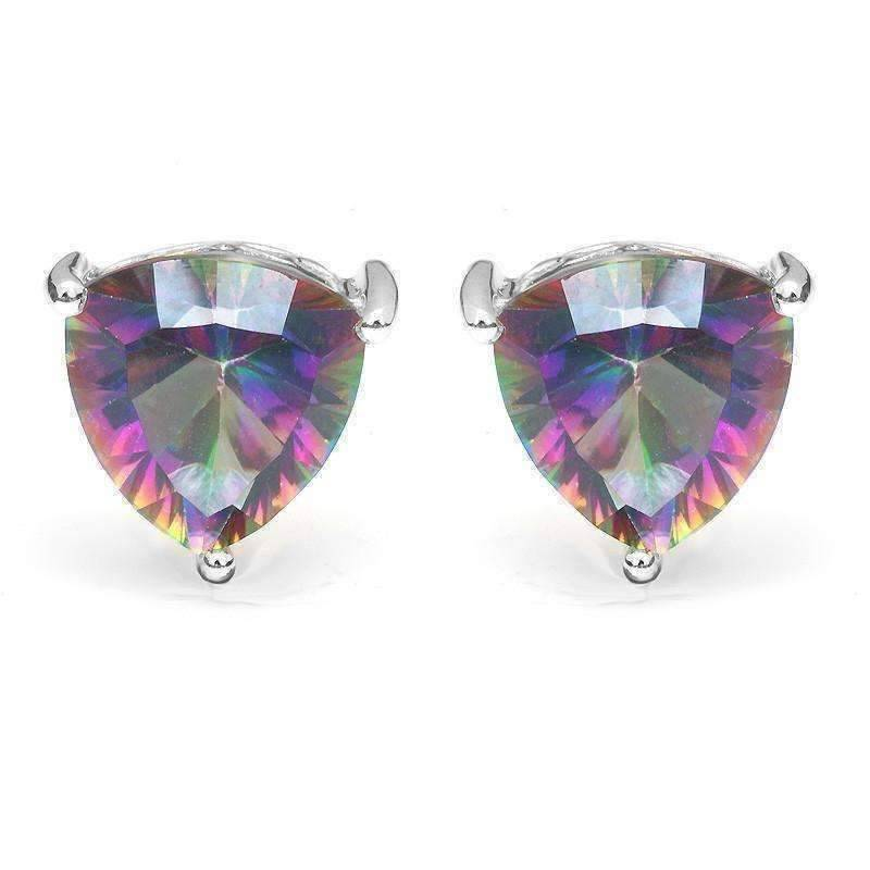Feshionn IOBI Earrings Rainbow Earrings Rainbow Fire Genuine Mystic Topaz Trillion Cut 4.5CT IOBI Precious Gems Stud Earrings