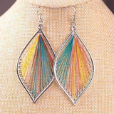 Feshionn IOBI Earrings Rainbow Global Beauty Silk Thread String Art Drop Earrings In Three Colors
