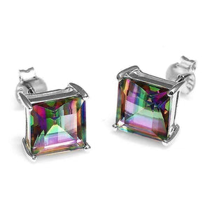 Feshionn IOBI Earrings Rainbow Princess Earrings Genuine Rainbow Fire Mystic Topaz Princess Cut 3CT IOBI Precious Gems Stud Earrings