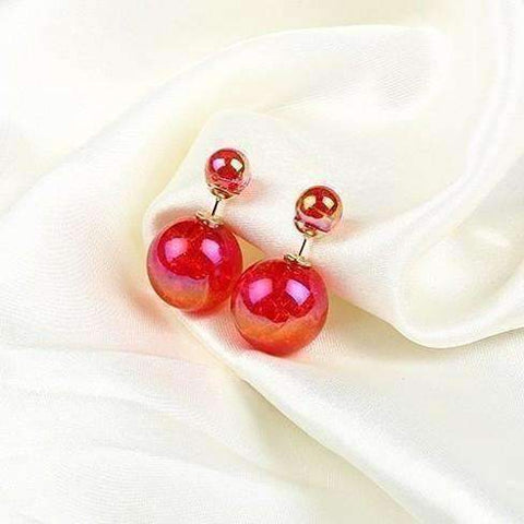 Feshionn IOBI Earrings Red Marbled Bowling Pin Reversible Pearl Earrings - Nine Funky Colors to Choose!