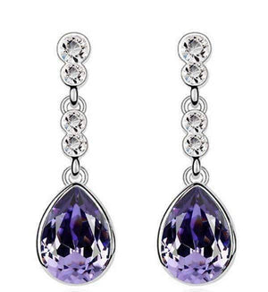 Feshionn IOBI Earrings Regal Purple IOBI Crystals Dew Drop Earrings - Choose Your Color