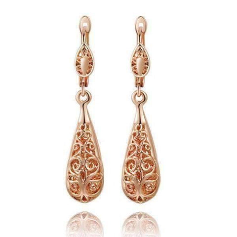 Feshionn IOBI Earrings Rose Gold Arabesque Filigree Puff Teardrop Earrings