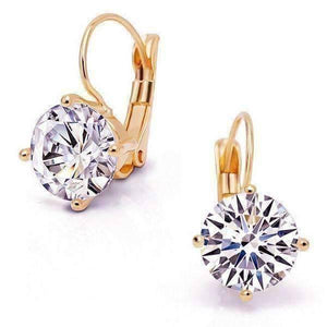 Feshionn IOBI Earrings Rose Gold Bold 7 CTW Solitaire Leverback Earrings in Yellow, Rose or White Gold