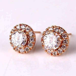 Feshionn IOBI Earrings Rose Gold Ethereal Halo Set Stud Earrings