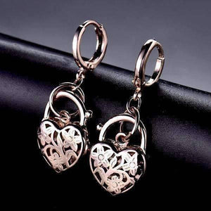 Feshionn IOBI Earrings Rose Gold Floral Etched Heart Padlock Charm Earrings