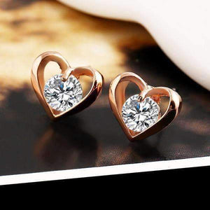 Feshionn IOBI Earrings Rose Gold Forever in My Heart CZ Stud Earrings ~ White or Rose Gold Plated