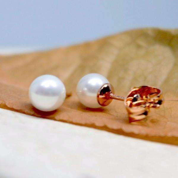 "Feshionn IOBI Earrings ""Little White Pearls"" 6 mm Simulated Pearl Stud Earrings"