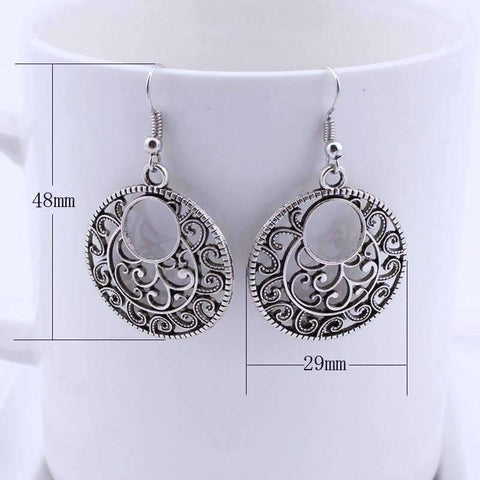 Feshionn IOBI Earrings Round Boho Scroll Silver Patina Hook Earrings