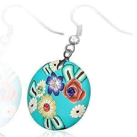 Feshionn IOBI Earrings Round Handcrafted Floral Cane Work Clay & CZ Earrings ~ Five Lively Colors to Choose From