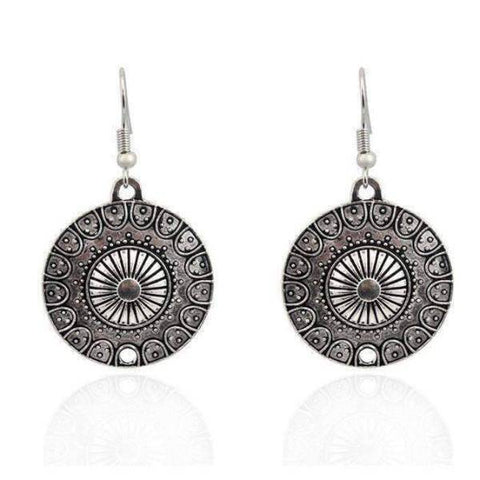 Feshionn IOBI Earrings Round Roman Stamped Medallion Silver Hook Earrings