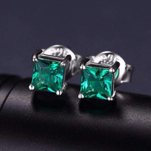 Feshionn IOBI Earrings Royal Green Princess Cut 0.6 CT Simulated Emerald Stud Earrings