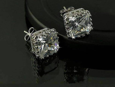 Feshionn IOBI Earrings Royal Princess 6mm Cut Simulated White Or Pink Sapphire Stud Earrings