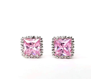 Feshionn IOBI Earrings Royal Princess 7mm Cut Simulated White Or Pink Sapphire Stud Earrings