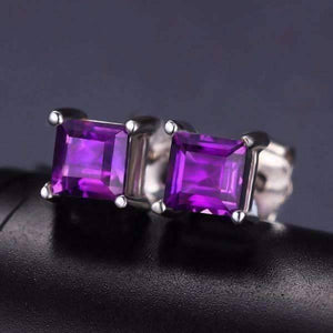 Feshionn IOBI Earrings Royal Purple Princess Cut 0.5 CT Genuine Amethyst IOBI Precious Gems Stud Earrings