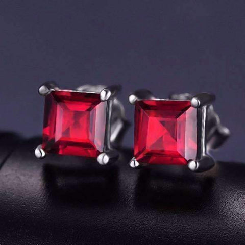 Feshionn IOBI Earrings Royal Red Princess Cut 0.8 CT Simulated Ruby Stud Earrings