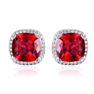 Feshionn IOBI Earrings Rubellite Earrings Passion Rubellite Cushion Cut 6.6CTW IOBI Precious Gems Halo Earrings