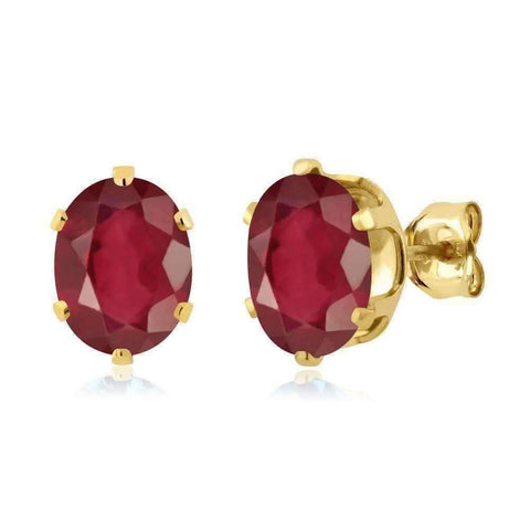 Feshionn IOBI Earrings Ruby 3CTW Natural African Red Ruby IOBI Precious Gems Stud Earrings