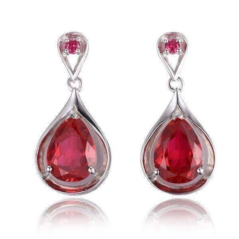 Feshionn IOBI Earrings Ruby Earrings Gala 7.6CTW Pear Drop Simulated Pigeon Blood Ruby IOBI Precious Gems Earrings