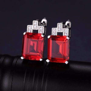 Feshionn IOBI Earrings Ruby Earrings Heirloom 8CT Emerald Cut Simulated Pigeon Blood Ruby IOBI Precious Gems Earrings