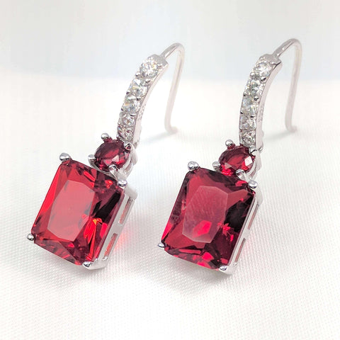 Feshionn IOBI Earrings Ruby Exquisite Emerald Cut 4CT Dangling CZ Earrings