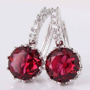 Feshionn IOBI Earrings Ruby Red on White Gold Exotic Gems CZ Solitaire Hoop Earrings