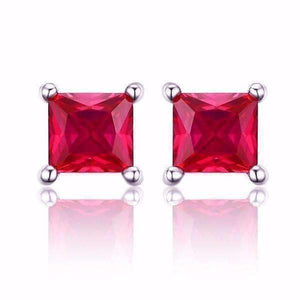 Feshionn IOBI Earrings Ruby Royal Red Princess Cut 0.8 CT Simulated Ruby Stud Earrings