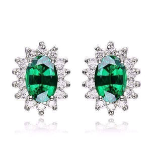 Feshionn IOBI Earrings Russian Emerald Earrings Russian Halo Oval Cut 1CTW Nano Simulated Emerald IOBI Precious Gems Earrings