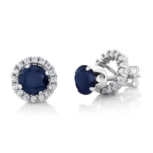 Feshionn IOBI Earrings Sapphire 2CTW Genuine Sapphire Stud With Removable Halo Jacket IOBI Precious Gems Earrings