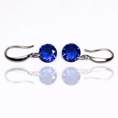 Feshionn IOBI Earrings Sapphire / 8mm Naked IOBI Crystals Drill Earrings - The Exotic Collection by Feshionn IOBI