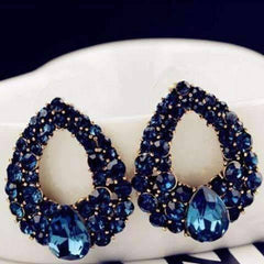 Alluring Sapphire Blue Austrian Crystal Cocktail Earrings