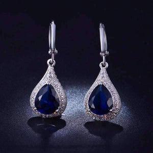 Feshionn IOBI Earrings Sapphire Blue Beau Monde Pear Cut Simulated Sapphire and Milgraine Hoop Earrings