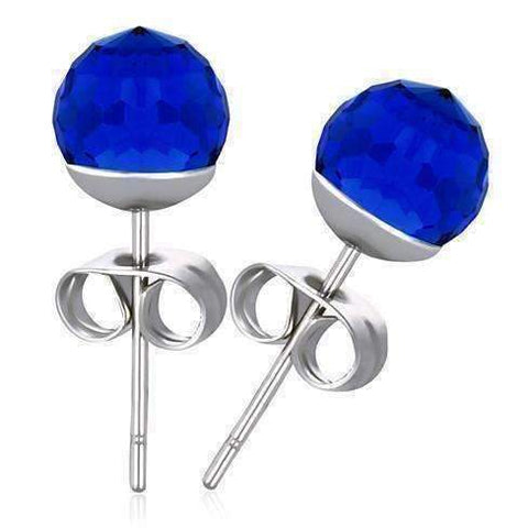 Feshionn IOBI Earrings Sapphire Blue CLEARANCE - Disco Ball Faceted Crystal Stud Earrings - Eight Colors!