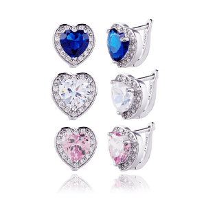 Feshionn IOBI Earrings Sapphire Blue Magnificent Halo Heart Leverback Earrings in Clear, Pink or Blue Sapphire
