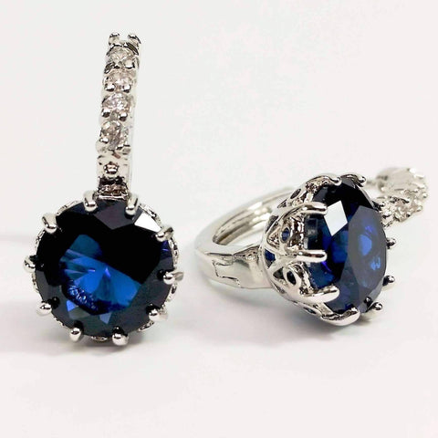 Feshionn IOBI Earrings Sapphire Blue on White Gold Exotic Gems CZ Solitaire Hoop Earrings