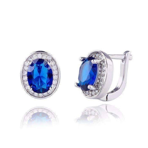 Feshionn IOBI Earrings Sapphire Blue Oval Solitaire Halo Earrings in Sapphire, Emerald, Topaz or White CZ