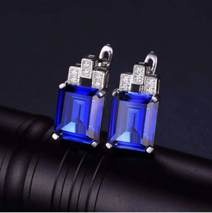Feshionn IOBI Earrings Sapphire Earrings Legacy 8CT Emerald Cut Simulated Russian Sapphire IOBI Precious Gems Earrings