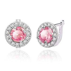 Feshionn IOBI Earrings Sapphire Pink ON SALE - Round Cut Halo Earrings in Five Elegant Colors