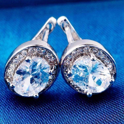 Feshionn IOBI Earrings Sapphire White Oval Solitaire Halo Earrings in Sapphire, Emerald, Topaz or White CZ