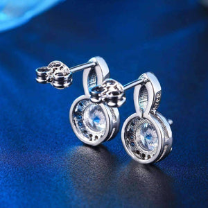 "Feshionn IOBI Earrings ""Seraphine"" Halo Set .75 CT Cubic Zirconia Drop Stud Earrings"