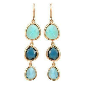 Feshionn IOBI Earrings Shades of Aqua ON SALE - Shades Graduated Tri-Tone Dangling Crystal Lever Back Earrings ~ Five Colors to Choose