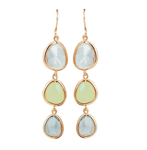 Feshionn IOBI Earrings Shades of Citrus ON SALE - Shades Graduated Tri-Tone Dangling Crystal Lever Back Earrings ~ Five Colors to Choose
