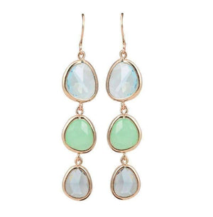 Feshionn IOBI Earrings Shades of Jade ON SALE - Shades Graduated Tri-Tone Dangling Crystal Lever Back Earrings ~ Five Colors to Choose