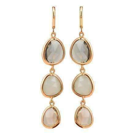 Feshionn IOBI Earrings Shades of Smoke ON SALE - Shades Graduated Tri-Tone Dangling Crystal Lever Back Earrings ~ Five Colors to Choose