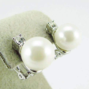 Feshionn IOBI Earrings Silver Crystal Accented Pearl Bead Clip-On Earrings In Yellow or White Gold