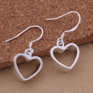 Feshionn IOBI Earrings Silver Dangling Heart Earrings
