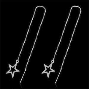 Feshionn IOBI Earrings Silver Edgy Bold Star Outline Silver Thread Earrings